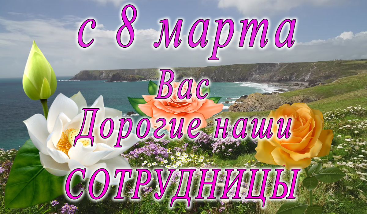 с 8 марта;сотрудники;поздравление;apipa.ru